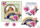 Victorian Fan & Pink Roses (2) - 6 x 6 Card Topper & Decoupage