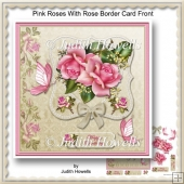 Pink Roses With Rose Border Card Front