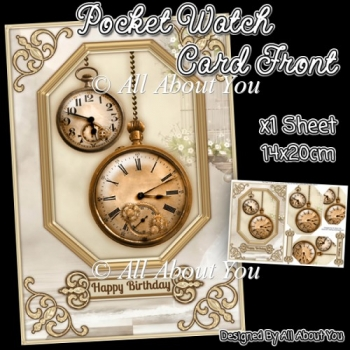 Pocket Watch Card Front with Pyramage Layers
