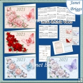 ROSES & BUTTERFLIES 2021 UK Easy Fold Purse Calendars