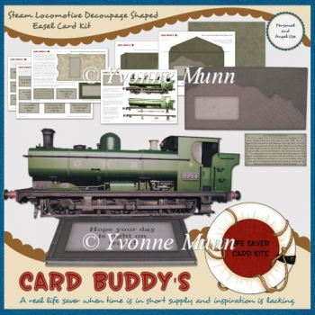 Steam Locomotive Decoupage Shaped Easel Card Kit