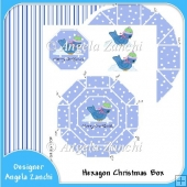 Blue Christmas Hexagon Gift Box