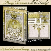 A5 Card with Insert White Poinsettia