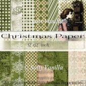 "Green Christmas background paper 12""x12"" inch"
