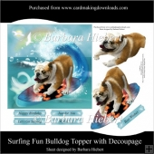 Surfing Fun Bulldog Topper with Decoupage