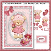 Cute Pink Bear In Lace Frame Card Front