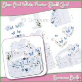 Blue And White Flower Shelf Card