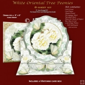 White Oriental Tree Peonies - Easel Card