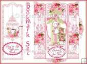 Shabby Roses Bird Garden Bookmark Set