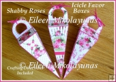Shabby Roses Icicle Favor Boxes Set of 3 with Directions