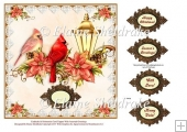 "Cardinals & Poinsettias - 8"" Card Topper with Assorted Greetings"