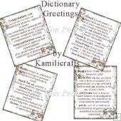 Set of 4 dictionary style greetings