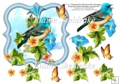 "Morning Glory Bird Song - 6"" x 6"" Card Topper & Decoupage"