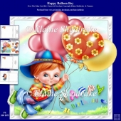 Happy Balloon Boy 8 x 8 Over The Edge Card Kit