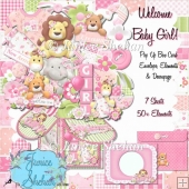 3D POP UP BOX CARD KIT - WELCOME BABY GIRL