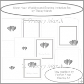 Silver Hearts Wedding and Evening Invitation Set