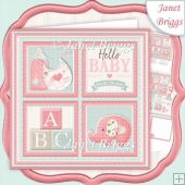 NEW BABY GIRL SQUARES 7.5 Decoupage & Insert Mini Kit