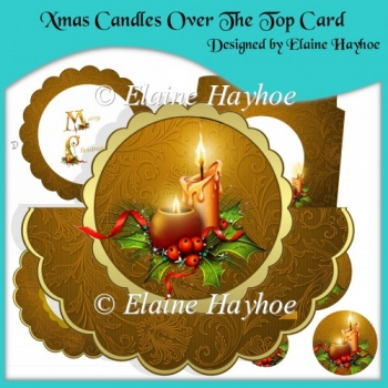 Xmas Candles Over The Top Card with Pyramage