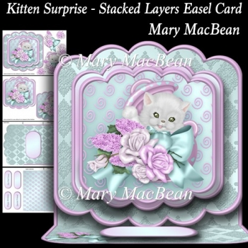 Kitten Surprise - Stacked Layers Easel Card