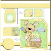 Easter Bunnies Scalloped Corner Card