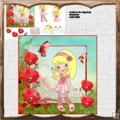 Annabell in the poppy field card with decoupage