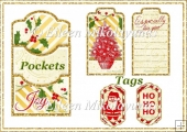 Christmas Sparkle Double Pocket Library Card and Tags Set