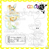 Happy Easter Bunny With Egg and Sentiment Digital Stamps