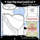 Ornate Wrap Around Gatefold Card Template