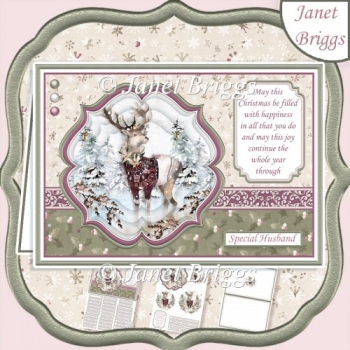 WILD FOREST - STAG IN SWEATER Christmas A5 Pyramage & Insert Kit