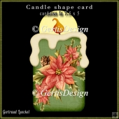 Candle Shape Card Christmas Poinsettia classic 694