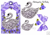 purple roses with bow & diamond swan on a tag