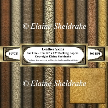 Leather Skins - Set One - Ten 12 x 12 Backing Papers