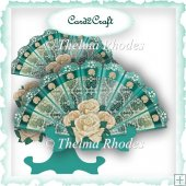 Turquoise and ivory rose fan card and stand