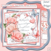 CORAL & GREY ROSES & VERSE 7.5 Decoupage & Insert Kit