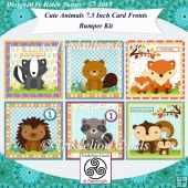 6 Cute 7.5 Inch Animal Card Fronts Decoupage & Inserts