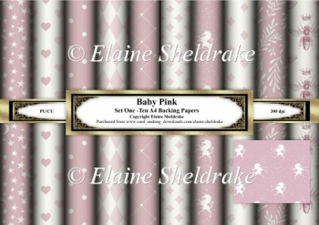Baby Pink - Set One - Ten Sheets Of A4 Backing Papers