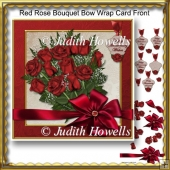 Red Rose Bouquet Bow Wrap Card Front