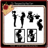 883 Pregnant Expecting Silhouettes *Multiple MACHINE Formats*