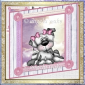 Macie the puppy card with decoupage