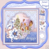 FROSTED FLORALS WINTER COTTAGE Christmas Decoupage & Insert Kit