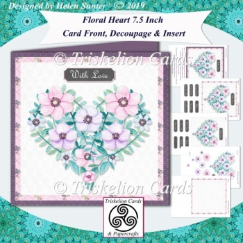 Floral Heart 7.5 Inch Card Front Topper Decoupage & Insert
