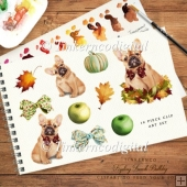 Harvest puppy dog, pumpkins and leaf, autumn clipart set