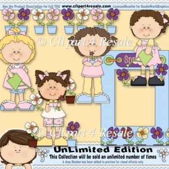 Flower Pot Girls ClipArt Graphic Collection