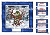 Owls Christmas - Square Card Topper With Assorted Greetings