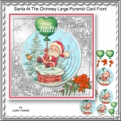 Santa At The Chimney Large Pyramid Card Front