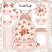 Pretty peach rose easel card set