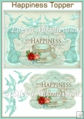 Teal Blue HAPPINESS Card Front/Topper with Decoupage