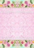 Pink Floral Border Damask Backing Backround Paper
