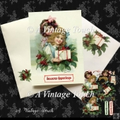 Two Vintage Christmas Girls Christmas Card cutting file
