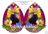 Black Cat Among The Flowers - Faberge Easter Egg Cut & Fold Card